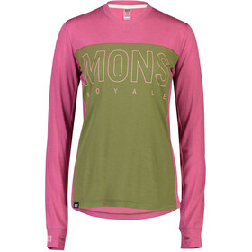 Mons Royale Phoenix Enduro V-Neck LS Top Dame khaki rose